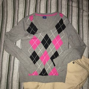 Izod argyle pink and gray sweater✨